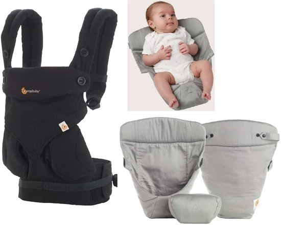 Ergobaby Geboortepakket: babydraagzak 360 Pure black incl. verkleinkussen Original grey