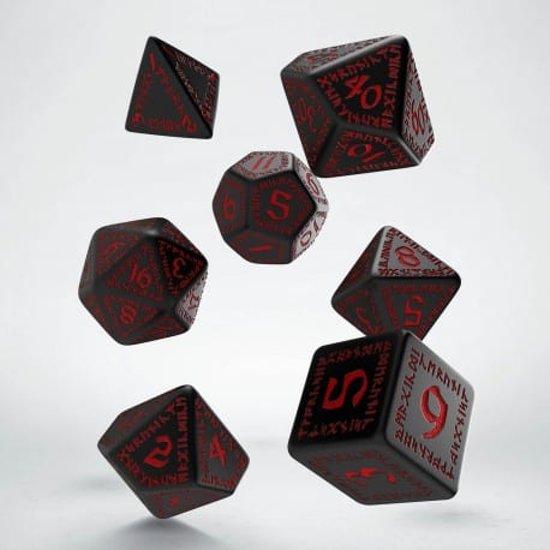 Afbeelding van het spel Chessex Polydice Set Q-Workshop Runic Black & Red