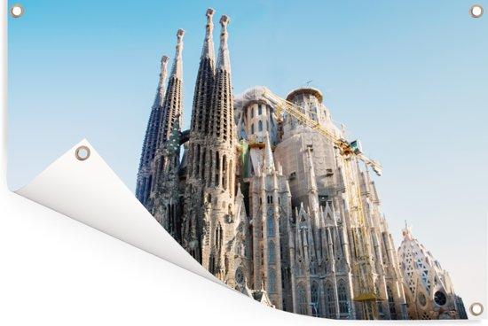 Zijaanzicht van de Sagrada Familia Barcelona Tuinposter 90x60 cm - Tuindoek / Buitencanvas / Schilderijen voor buiten (tuin decoratie)