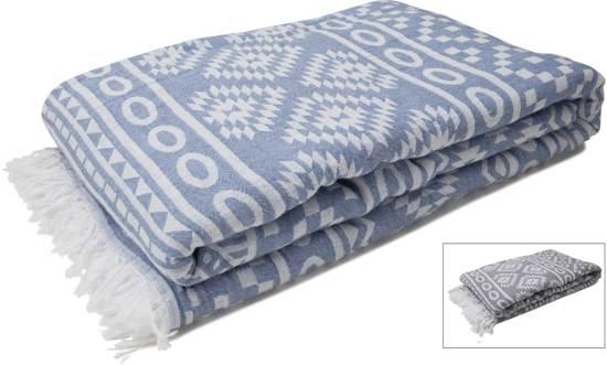 143e3fd1a50 ZusenZomer Plaid Woonplaid Bedsprei Grand foulard woonkamer - Blauw