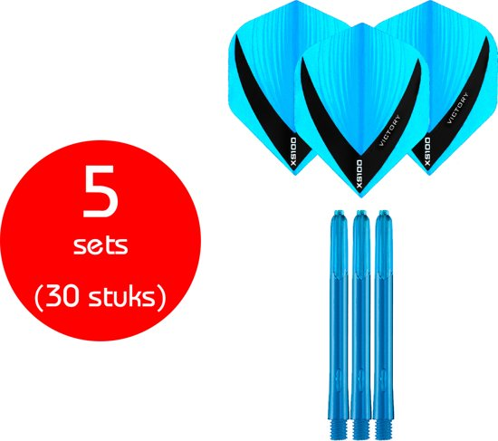 Dragon Darts - 5 sets (30 stuks) - XS edgeglow - darts shafts - inclusief - darts flights -aqua