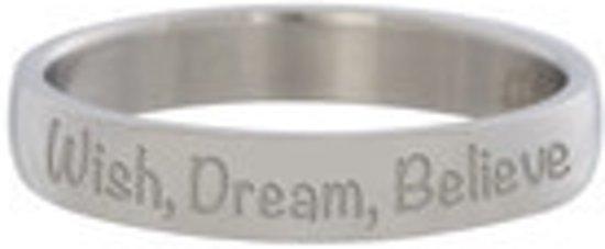 iXXXi Vulring tekst Wish Dream Believe zilverkleurig 4mm - maat 20