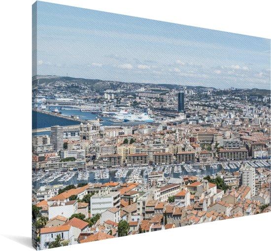 Luchtfoto van de Franse stad Marseille Canvas 120x80 cm - Foto print op Canvas schilderij (Wanddecoratie woonkamer / slaapkamer) / Europese steden Canvas Schilderijen