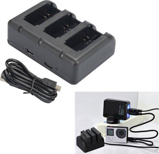 Triple Battery Charger - for GoPro Hero4/3+/3   Voor de batterij van een extreme videocamera / actiecamera