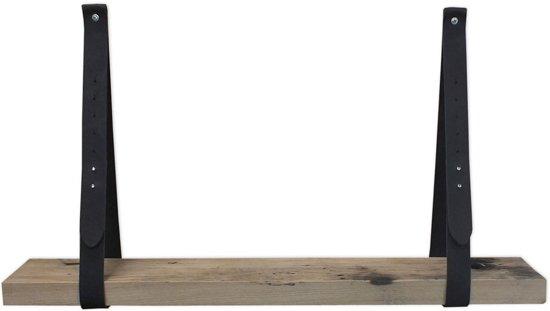 Leren plankdragers zwart met Eiken Wagondeel