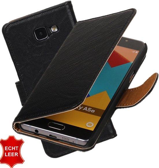MP Case Zwart Echt leder hoesje voor Samsung Galaxy A5 (2016) Booktype - Telefoonhoesje - smartphonehoesje - beschermhoes. in De Steegh