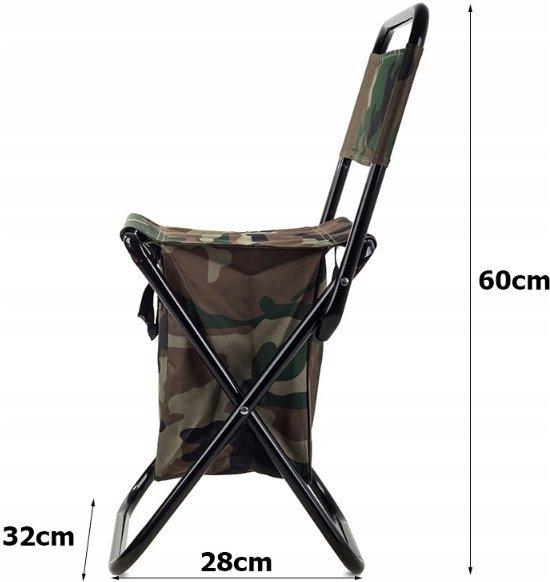 Multifunctionele Visstoeltje Opvouwbaar Met Rugleuning - Camping Klapstoel / Vouwstoel, Strandstoel met Opslagbox