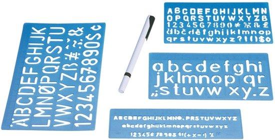 Lettersjablonen set 5, 10 en 20 mm.