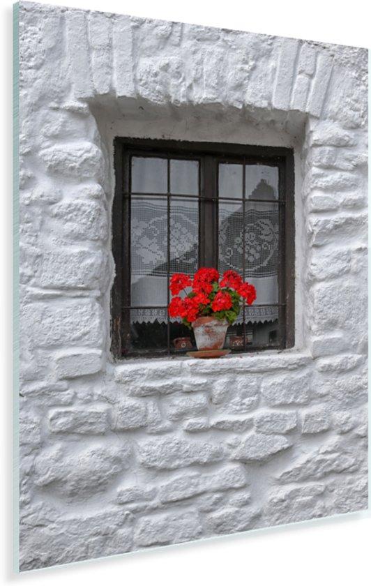 Vensterbank met geraniums Plexiglas 60x80 cm - Foto print op Glas (Plexiglas wanddecoratie)