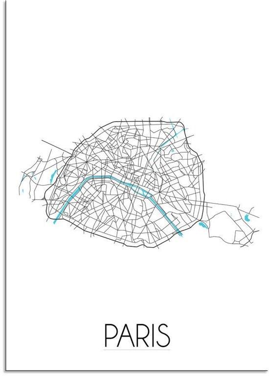 Plattegrond Parijs Stadskaart poster DesignClaud - Wit - A4 + fotolijst wit