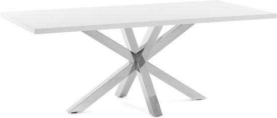 Design Witte Eettafel.Bol Com Kave Home Arya Eettafel 100x180cm Wit