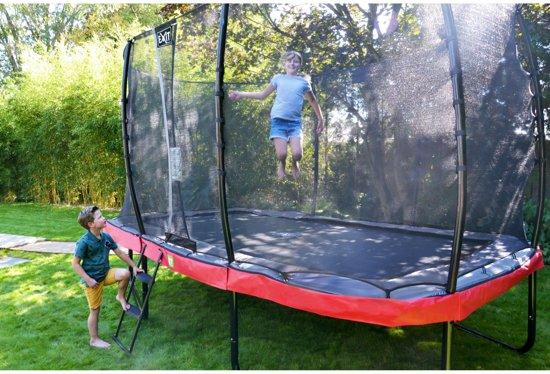 EXIT Elegant trampoline 214x366cm met veiligheidsnet Economy - rood