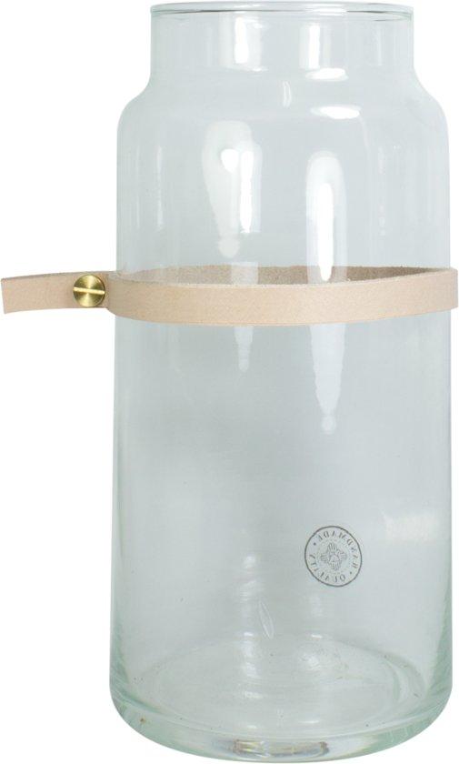 TAK Design Vaas Wrap Me Mini - Incl. Lederen Band - Glas - Ø10 x 20 cm - Bruin
