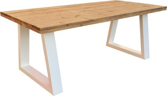 Eettafel steigerhout met wit onderstel