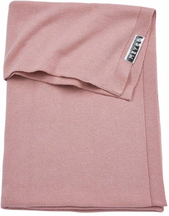Meyco - Knit basic - ledikantdeken 100x150 cm - Oudroze