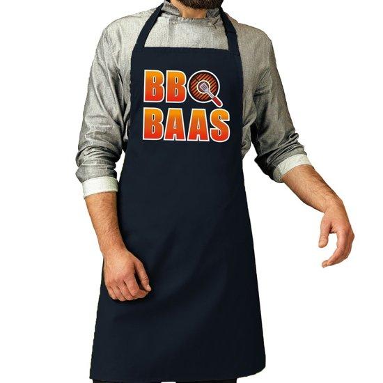 BBQ baas barbeque schort / keukenschort navy blauw voor heren - bbq schorten