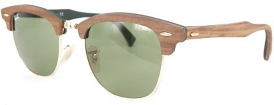 ff08682bdfb89e Ray-Ban RB3016M 11824E - Clubmaster (Wood) - zonnebril - Bruin   Groen