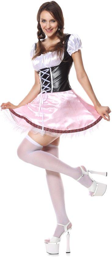 e8059f845f4b81 Kort Tiroler jurkje in roze en bruin - Oktoberfest kleding dames maat 36/38