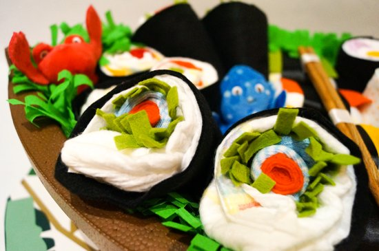 Luiertaart - Pampertaart Neutraal Sushi – 21 Pampers – Multicolor