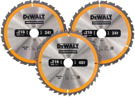 DeWALT DT1962 Cirkelzaagbladen Set 216mm (24T/24T/40T 216 x 30mm))