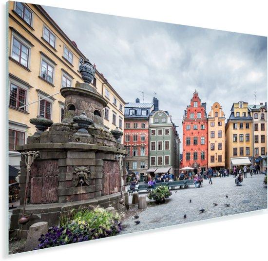 Het Zweedse plein Stortorget in Stockholm Plexiglas 180x120 cm - Foto print op Glas (Plexiglas wanddecoratie) XXL / Groot formaat!