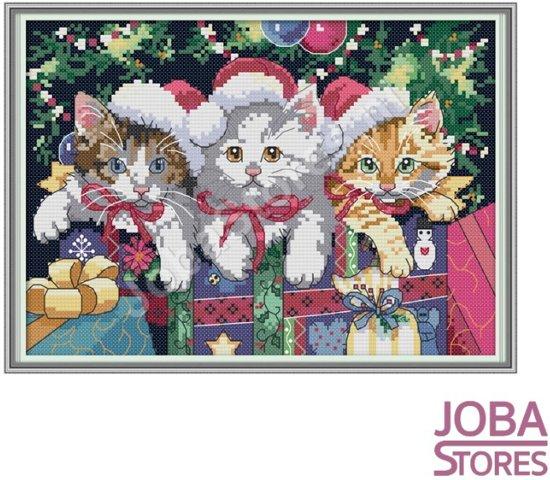 """""""Borduur Pakket """"JobaStores®"""" Kerst Katjes 11CT voorbedrukt (38x27cm)"""""""