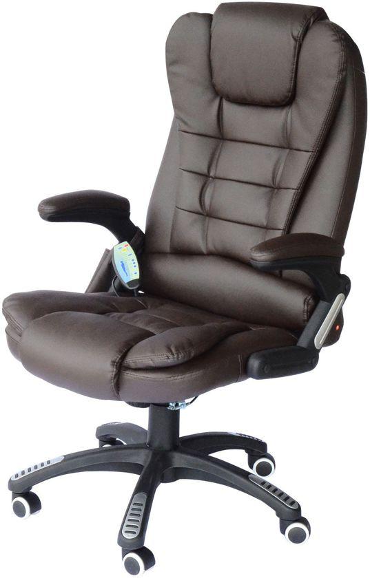 Bureaustoel Met Verwarming.Bureaustoel Massage Chef Burostoel Met Warmtefunctie Bruin Luxe Design