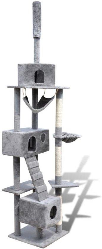 Krabpaal Tommie - 220/240 cm 3 huisjes - Grijs