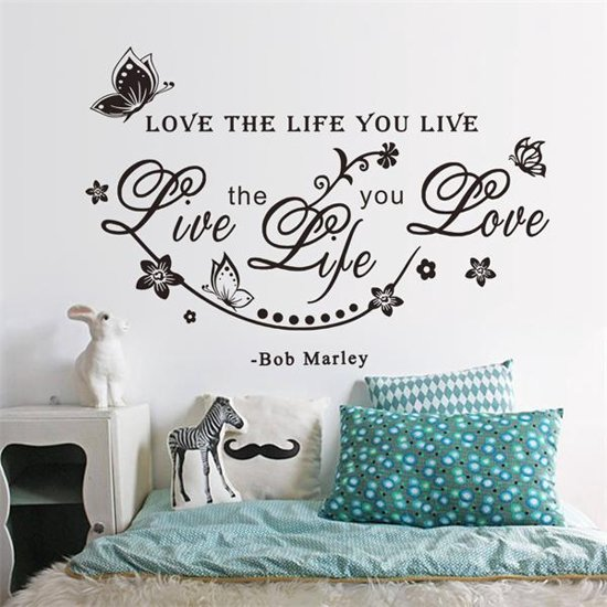 Tekst Stickers Muur.Bol Com Love The Life Muur Tekst Muursticker Zwart