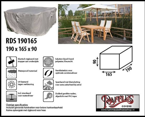 RDS190165 Hoes voor tuinset 190 x 165 H: 90 cm taupe