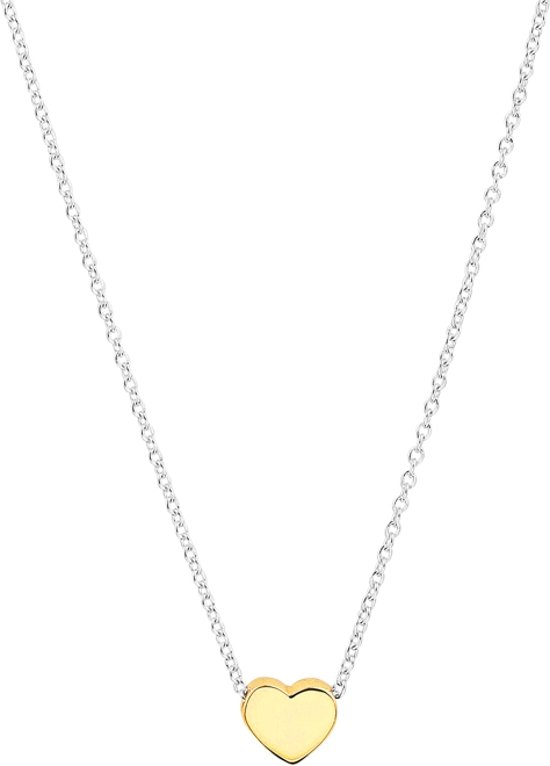 The Fashion Jewelry Collection Ketting Hartje 1,1 mm 41 + 4 cm - Zilver Geelgoudverguld