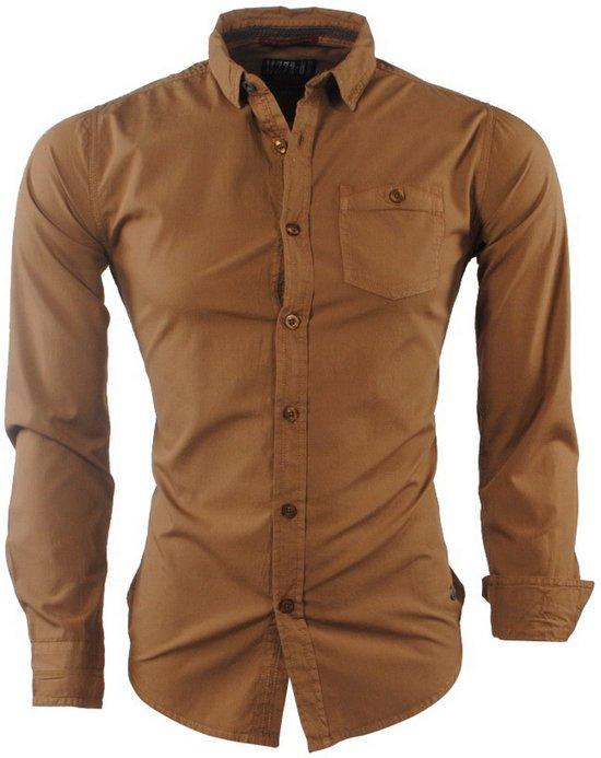 Bruin Overhemd.Bol Com Mz72 Heren Overhemd Borstzak Doobir Bruin