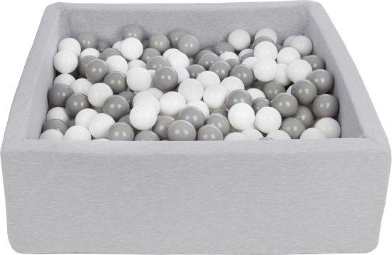 Zachte Jersey baby kinderen Ballenbak met 450 ballen, 90x90 cm - wit, grijs