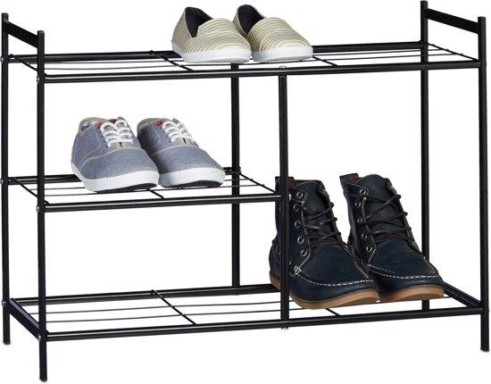 relaxdays schoenenrek, voor laarzen, schoenenkast, 8 paar schoenen, 4 planken