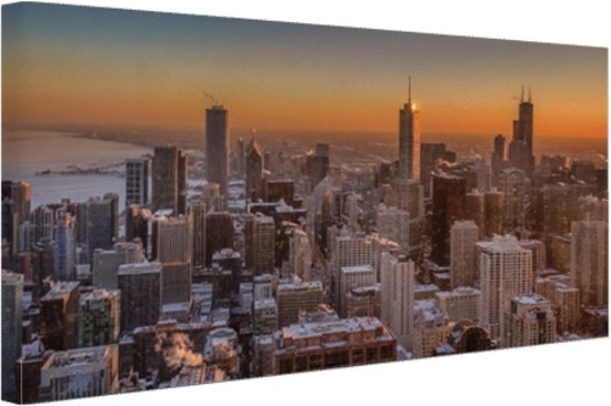 Chicago bij nacht Canvas 80x60 cm - Foto print op Canvas schilderij (Wanddecoratie woonkamer / slaapkamer) / Steden Canvas Schilderijen