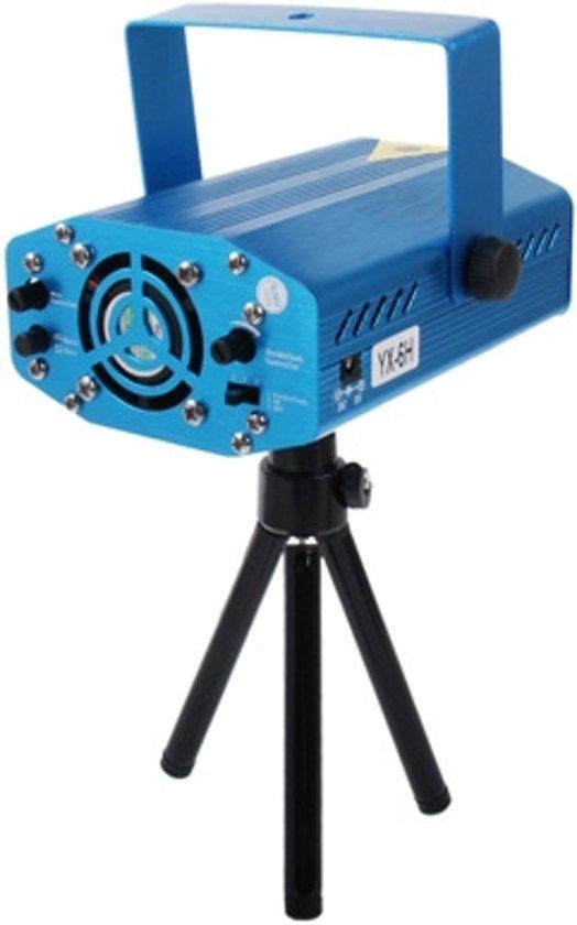YX - 6H multifunctionele Disco DJ Club holografische Laser Sterren Projector  2-kleur rood + groen licht  met houder  steun Sound Active & Auto legt Function(Blue)