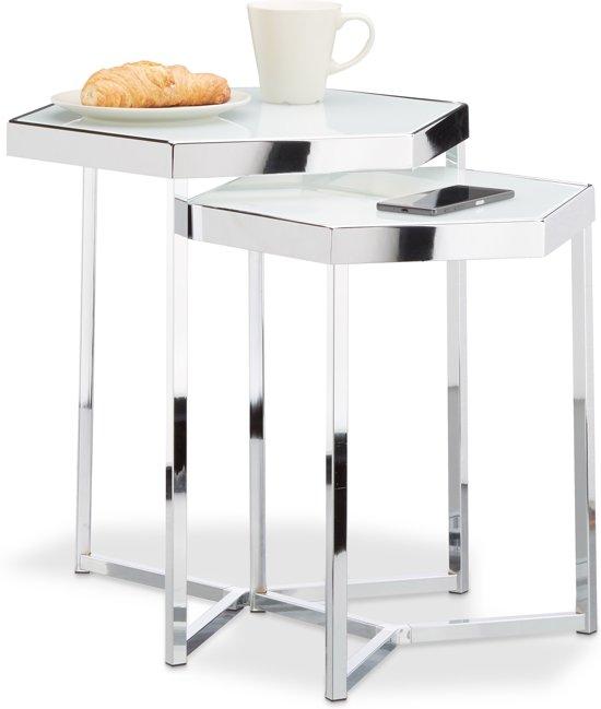 Zilverkleurig Rond Bijzettafeltje.Relaxdays Bijzettafel Set Van 2 Glazen Salontafel Zeshoekig Metaal Zilver Chroom