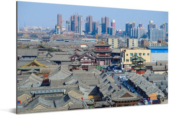 Oude Hutong-district van Datong in noorden van China Aluminium 180x120 cm - Foto print op Aluminium (metaal wanddecoratie) XXL / Groot formaat!