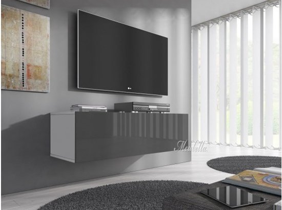 Tv Kast Hangend : Bol meubella tv meubel flame grijs wit cm