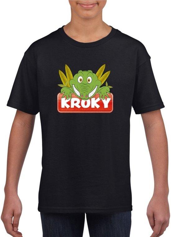 Kroky de krokodil t-shirt zwart voor kinderen - unisex - krokodillen shirt XS (110-116)
