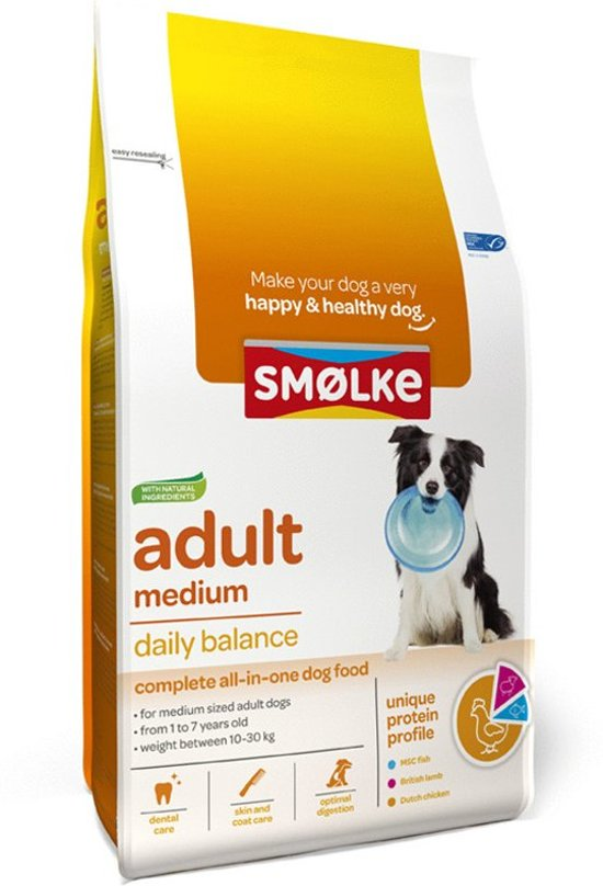 Smolke adult medium bonus bag hondenvoer 12+3 kg