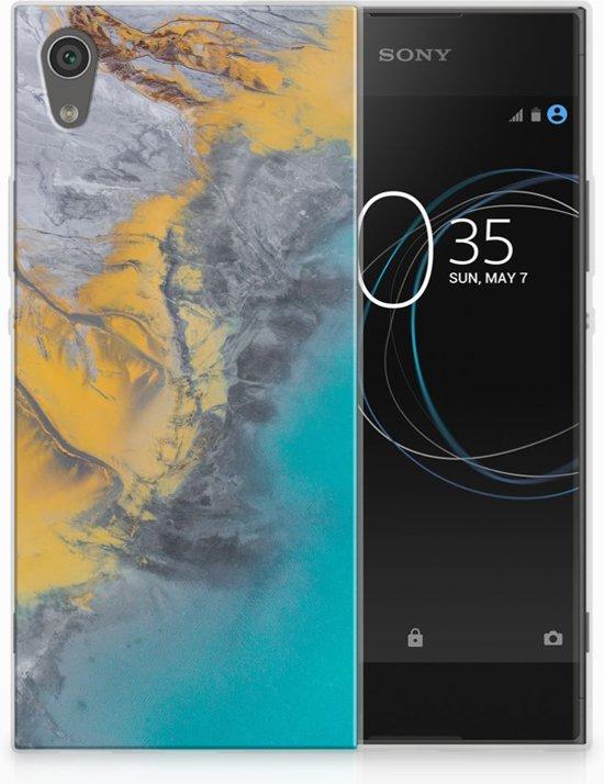 Sony Xperia XA1 TPU Hoesje Design Marble Blue Gold