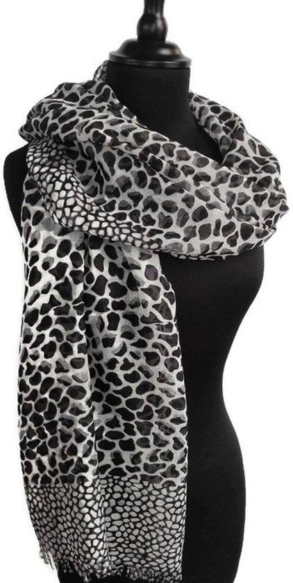 09d031084a9 Dames sjaal - viscose - dierenprint - luipaard - leopard - panter - zwart -  wit