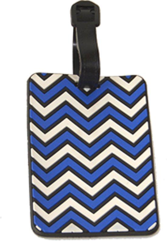 Kofferlabel / bagagelabel 3D rubber Blauw - wit met QR-code