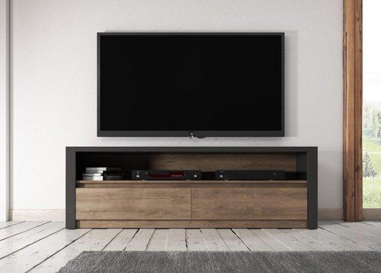 Bol.com meubella tv meubel monaco eiken grijs 130 cm