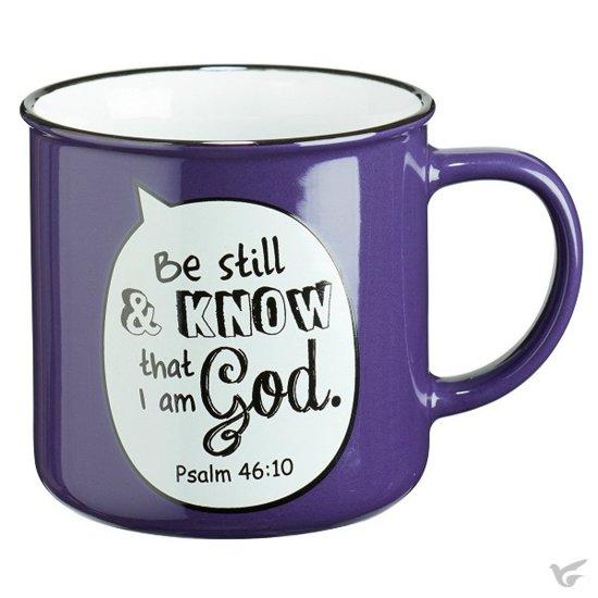 Mug Speech Bubble Purple: Be Still & Know that I am God // Psalm 46:10