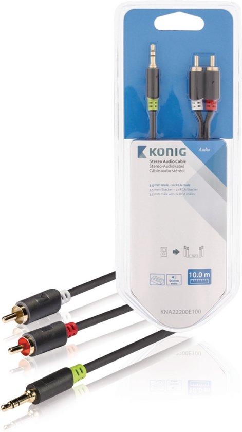 Konig 3,5 mm naar RCA Kabel 10 Meter Grijs