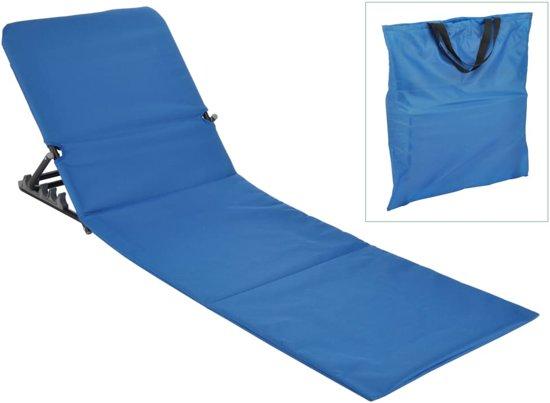 Kleine Inklapbare Strandstoel.Inklapbare Strandmat Strandstoel Met Rugleuning Blauw