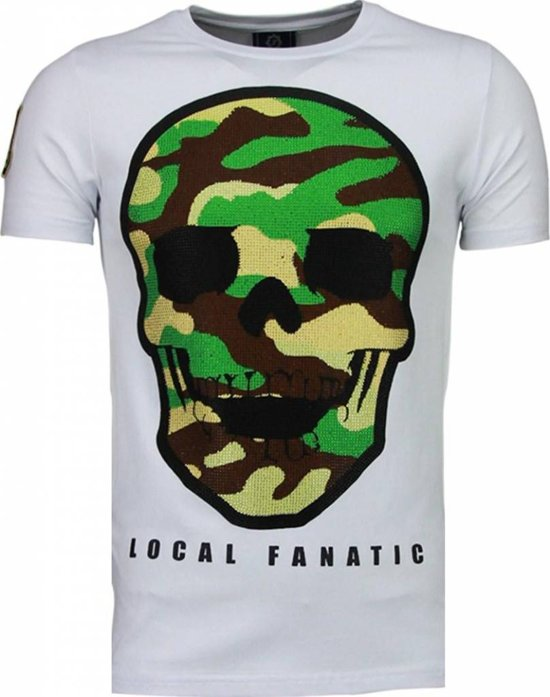 Local Fanatic Army Skull - Rhinestone T-shirt - Wit - Maten: L