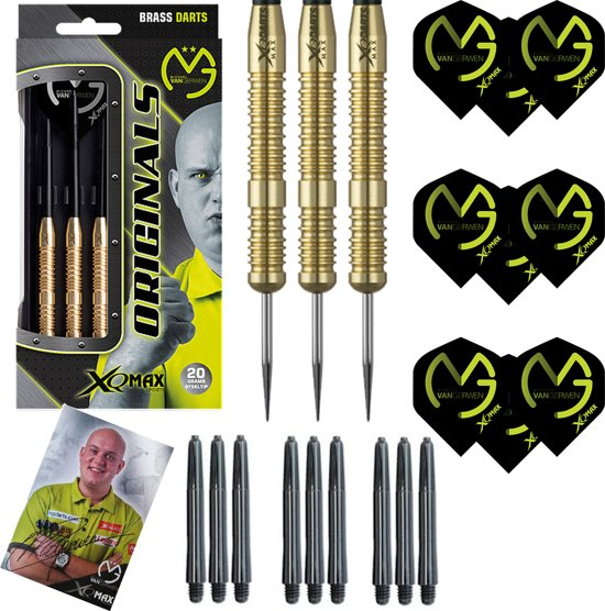 Michael van Gerwen - 100% brass - 23 gram - dartpijlen - gesigneerde foto - 9  dartshafts + 9 dartflights